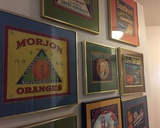 LOTS of old fruit box labels-all nicely framed