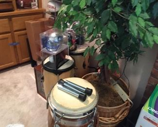 # Conga drums-one with stand-great shape-fake ficus