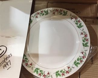 Gibson Christmas dish sets-two sets for 8