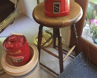 drafting stool-old gas can -crocks-gum ball machine filled with vtg. marbles