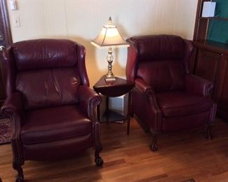 Leather Wingback Recliners.