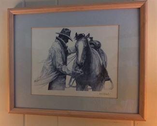 "W.H. Ford Signed Cowboy Art, 15"" x 12""."