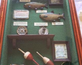 "Fishing Shadow Box, 13"" x 20"" x2 1/2"" D. Hardy Perfect Brass Faced Reel with Ivorine Handle circa 1896. Wood & Brass Nottingham Fishing Reel circa 1900."