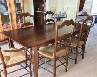 "Dining Room Table and 6 Ladder Back Cane Chairs. 78"" L x 38"" W x 30 1/2"" H."