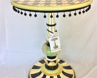 "MacKenzie Childs Houndstooth Table, 26"" H, 20"" diameter."