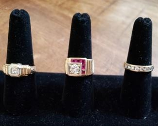 14k Diamond Ring, 14k Approx .80 Carat Diamond and Ruby Ring, 14k Diamond Channel Ring