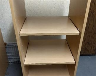 5 Wood storage shelves - open