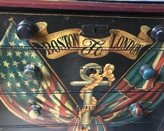 "Antique Chest ""Boston to London"" 1908"