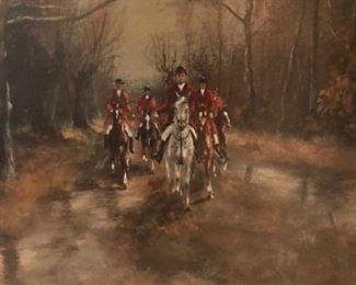 Fox Hunt Oil On Canvas G. Toark