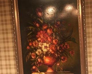 Austrian Artist M. Corda Floral Still Life Oil On Canvas
