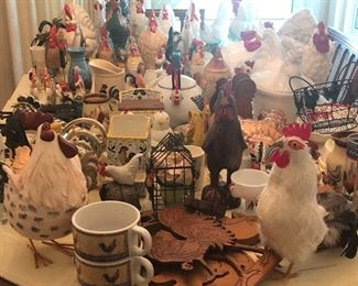 Roosters & Chickens, Glass, porcelain, Ceramic, cast Iron, Metal, Wood, feathered! Every kind you can imagine!