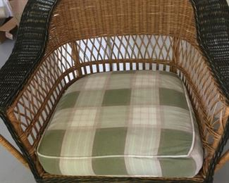 Vintage wicker (1of 2) chair with cushion