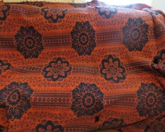 1800's red and blue woven coverlet with center seam. (Some small holes)