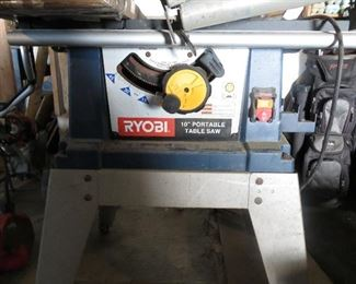 Table saw with guides.
