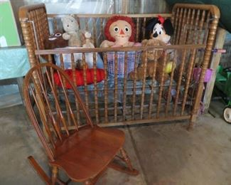 Jenny Lind crib (for re-purposing only), stuffed toys, rocker.