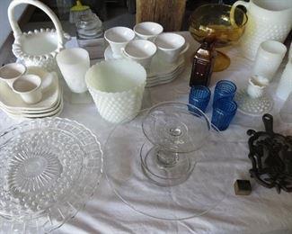 Milk glass, vintage glassware.