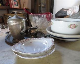 Hall, Roseville, silverplate tea set and a punch bowl