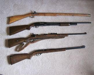 Marlin Mod 60 .22, Winchester Mod 12 16 gauge, Mauser 98 8mm, CVA .45 cal