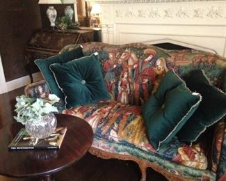 Gorgeous sofa (from the 1940's) and pillows; tilt top table