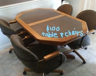 kitchen table, grey/black/wood 4 rolling chairs
