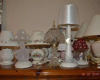many lennox and other lamps to choose from, some are electric some are candle