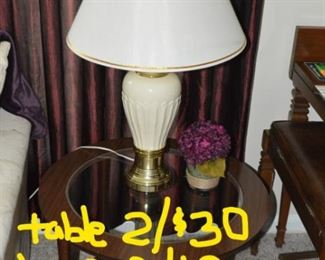 2 tables, lamps, table decorations