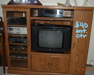 stereo equipment, organ (free), entertainment center, tv, crystal