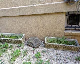Cement planters.