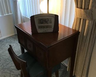 Sewing machine with table and chair