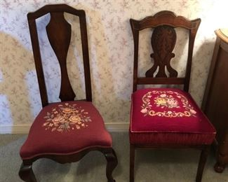 Chairs with needlepoint cushions