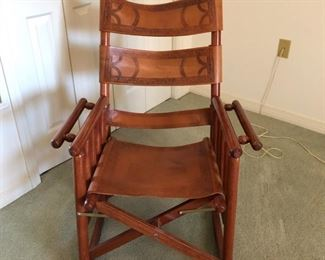 Leather and wood rocker