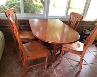 Drop leaf table with 4 chairs, 6 ft
