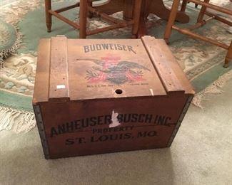Vintage Budweiser wooden trunk