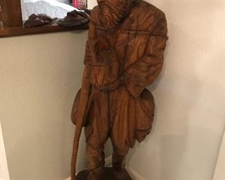large wooden carved man- fabulous unique art !!  approx 3 ft