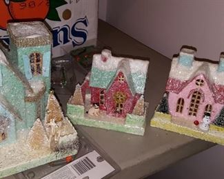 Vintage and Contemporary Christmas Light Up Houses