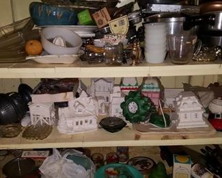 Lots of Misc& Unpainted Bisque Christmas Houses