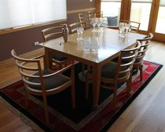 Knoll Studio wood dining table and chairs by Raul de Armas 1991 (as-is, some damage)