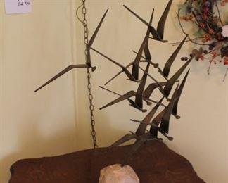 Vintage C. Jere MCM flying birds sculpture, signed