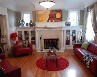 LIVING ROOM RED LEATHER FURNISHINGS