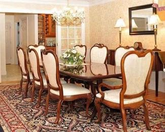 "Thomasville Dining Room Table with three 20"" leaves, pads, and 12 Chairs"