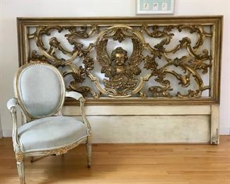 Ornate 19thC Castle Gilt Door MADE INTO KING HEADBOARD French SIde Chair