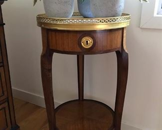 Pair of French Side Tables White Marble Tops