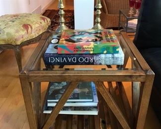 PAIR OF FRENCH Side Tables with Glass TOPS 2 ft square by 21 high