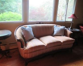 Antique Mahogany Carved Sofa (reconditioned and reupholstered)