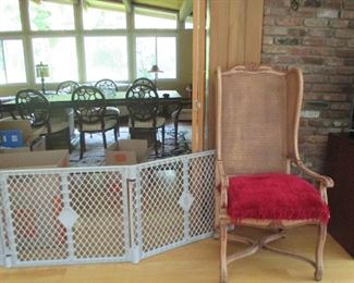 Oak & Rattan French Country Chair