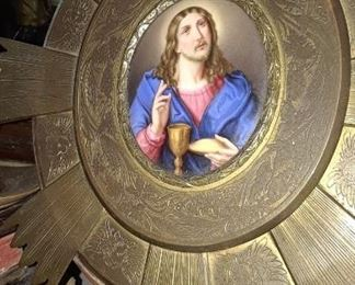 The striking portrait of Christ is about the size of a dinner plate but fills the room with its beauty.