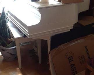 Chickering white baby grand piano