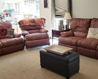 Camel Color All Leather Living Room Set (all recliners)  Excellent Shape