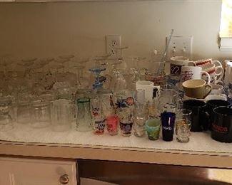 Large Assortment of Glasses, Mugs and Shot Glasses