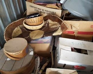 Round cheese boxes, baskets, much to unpack